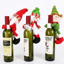 Christmas snowman ornaments online shopping - 2018 Christmas Wine Bottle Cover Lovely Hug doll Christmas Snowman Santa Claus Dinning Table Decorative christmas tree Ornament
