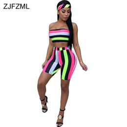 acddbf6c2b5a ZJFZML Sexy Three Piece Tracksuit Women Colorful Head Scarf + Off The  Shoulder Crop Top + Summer Vertical Striped Skinny Short