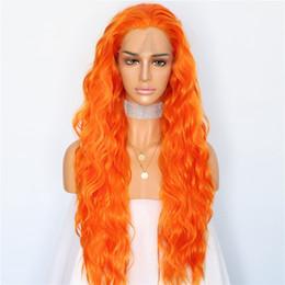 Luckystar pelucas Cosplay de Halloween Nuevo color naranja Pelucas largas  del partido del pelo ondulado Resistente al calor Gluless Pelucas  delanteras del ... 2997f0eccefc