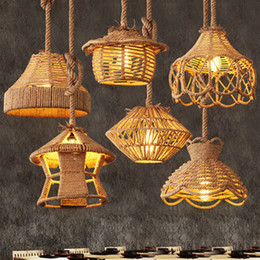 $enCountryForm.capitalKeyWord NZ - Retro industrial wind led pendant chandeliers lamps for restaurant bar cafe club hotel cloth stores hemp rope Japanese led pendant lights