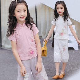 $enCountryForm.capitalKeyWord Australia - Chinese Style Cheongsam Girls Clothing Sets Solid Short Sleeve T-Shirt + Lantern Pants 2Pcs Suits Kids Clothes for 9 Years Teen