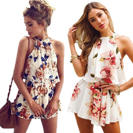 0a17a81e843 Very nice Sexy Floral Print Playsuit Women 2018 New Fashion Halter 2 Pieces  Tops and Shorts Boho Style Summer Jumpsuits Overalls
