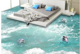 Discount waves backdrop - Dolphins in the waves a 3D floor mural 3d wallpaper 3d wall papers for tv backdrop