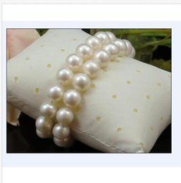 """Pearl Channel Australia - hot AAA++ 2 rows 11-10mm Natural south sea white round pearl bracelet 7.5-8""""14k"""