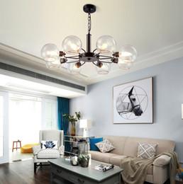 $enCountryForm.capitalKeyWord Australia - Nordic Fashion Post-modern Chandelier Wrought Iron Glass Ball LED Pendant Lamp Bedroom Cafe Clothing Store Hotel Lobby Lighting AL75