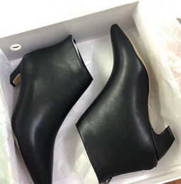 Back Zipper Boot NZ - Autumn and winter women's D new back zipper leather pointed low-heeled shoes Europe and the United States winter boots Martin boots