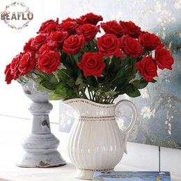flowers rose white love Australia - Decorative Flowers Wedding 15pcs  Lot Artificial Flowers Love Rose Silk Cloth Handmade For Wedding Home Party Decorative