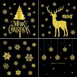 $enCountryForm.capitalKeyWord Australia - 2018 New Fashion Hot Sale Christmas Glueless Static Stickers Gold Christmas Window Decoration Stickers