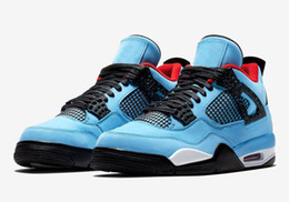 6e9921dd47738a Newest 2018 New Jumpman 4 IV Travis x Houston University Blue Black Red  Casual Sports Shoes AAA+ Mens 4s Designer Trainers Sneakers
