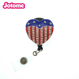 rhinestone badge reels UK - Office of the trend of fashion accessories Rhinestone Bling Crystal reel retractable ID badge holder - American Heart Flag