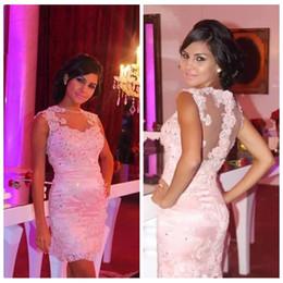 bac2102dff 2019 Sheer Back Slim Prom Party Dresses Sleeveless Crew Neck Sheath  Applique Beads Short Formal Gowns Vestidos De Formal Cheap Evening Dress