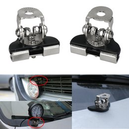 led hood lamp NZ - 1Pair stainless steel car light holder LED light Mounting bracket Hood Engine lamp bracket clips 4x4 offroad install clamp