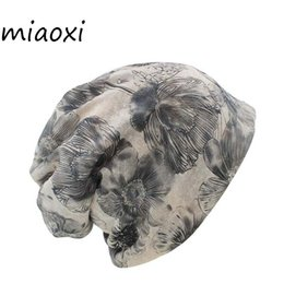 hats caps sale for women 2019 - miaoxi Sale New Fashion Women Knit Warm Hat Scarf Two Used Woman Flora Cap Beanie Skullies For Girl Autumn Caps Bonnet c