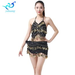 Belly Dancing Costume Party Sequins Coins Club Wear Outfits Stage Show  Performance Carnival Halloween Bra+Hip Scarf   7b8d12db0ac9