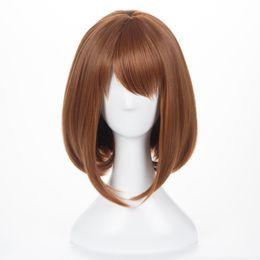 Chinese  Z&F Short straight wig Bobo short wigs 12 inch Light brown Short Hair Wig Both for cosplay My Hero Academia OCHACO URARAKA manufacturers