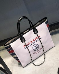 Stripe canvaS tote beach bagS online shopping - Famous Brand Designer Beach bag female new wave holiday canvas shopping bag large capacity Mummy shoulder bag