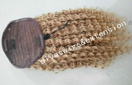 african american human hair ponytails 2020 - Honey blonde kinky curly human hair ponytail clip in drawstring ponytail hair extension african american ponytail 14inch