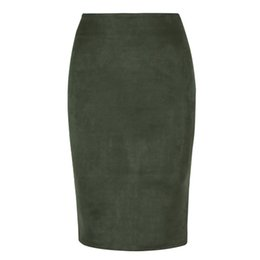 3ff2f191df9fc Black faux leather pencil skirt online shopping - Women Bodycon Skirts  Suede Split Thick Stretchy High