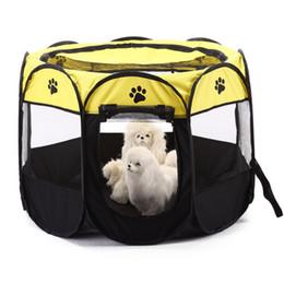 Vente en gros Dog House Portable Pliable Pet Tente Cage Chien Chenil Chiot Parc Pour Plein Air Respirant Animaux fournitures Octogonal Clôture