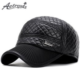 091db9994a5  AETRENDS  2017 New Winter PU Leather Baseball Cap Men Warm Baseball Hats  with Ear Flaps Dad Hat Z-5928