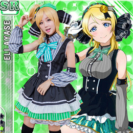 maid cosplay lolita dress 2019 - Hot Japanese Anime costume Love Live ayase eri Candy maid uniform Princess Vintage Lolita dress cute cafe maid cosplay c