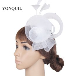 crinoline hair NZ - Ladies elegant fascinator white feather flowers women crinoline DIY hair accessories fancy wedding hats bridal hats cocktail SYF241