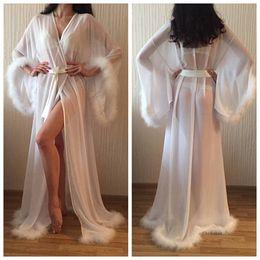 64d8bdaebe Sexy Long Sleeve Sheer Bridesmaid Bride Robes With Feathers Custom Silk  Satin Bathrobe Wedding Party Robe For Women Floor Length Sleepwear