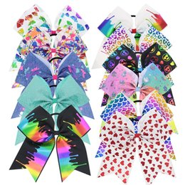 Chinese  7 Inch Jojo Cheer Hair Bows Unicorn Cheer Bow Jojo Style Paint Drips Prints Grosgrain Hairbands Holographic Mermaid Pastel Unicorn Hairbows manufacturers