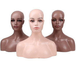 Heads Lace Wig Australia - Female Realistic Fiberglass Dummy Mannequin Head Bust For Lace Wigs Display Makeup Double Shoulder Model Head
