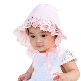 Gifts For Infant Girls Australia - Cute Lace Baby Girls Hat White Pink Princess Hat For Baby Girls Flower Embroidery Infant Beanie First Brithday Gift Autumn