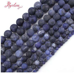"$enCountryForm.capitalKeyWord Canada - 4,6,8,10,12mm Round Frosted Matte Blue Sodalite Natural Stone Beads For DIY Necklace Bracelet Jewelry Making 15"" Free Shipping"