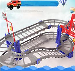 Rails Blocks NZ - Building Block Bricks 88pcs Electric Rail Vehicle Car with Llight Train Track Car Racing Track Toy Educational Puzzle Toy for Children