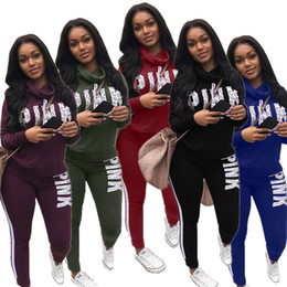 Blue pullover sweater online shopping - Women PINK Letter Tracksuit Sweater Hoodie Pants set love pink Sweatsuits Autumn Winter Pullover Sweatshirt Outfits Sportswear