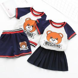 Ragazzi e ragazze set 2018 estate nuovo stile T-shirt a maniche corte per bebè orso bambino t-shirt da bambino vestito casual a due pezzi