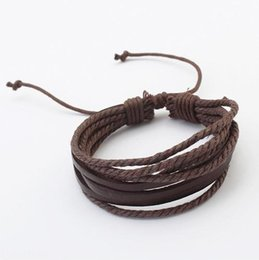 Discount matching bracelets - Bracelets For Men Women Fashion Vintage All-match Quality Brown Color PU Leather Rope Bracelets Jewelry