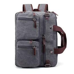 $enCountryForm.capitalKeyWord Canada - 13 14 Inch Multifunctional Canvas Convertible Laptop Bag Multi-Pocket Briefcase Backpack Laptop Messenger Bags