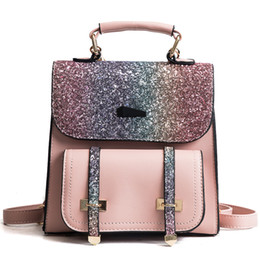 d07eb0d1258e 2018 new Famous design casual Sequins double shoulder bags Zipper opening  Office Ladies bag simple preppy college style backpack