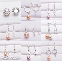Wholesale Perlen Ohrringe Einstellungen 925 Splitter Ohrstecker 16 Stile DIY Perlenohrring Schmuck Einstellungen Geeignet für Perle 6mm und über Weihnachtsgeschenk