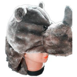 School Beanies UK - New Soft Warm Animal Cap Rhinoceros Costume Party School Cute Rhino Plush Hats Props Beanies For Boy Girl Adult Child Kids