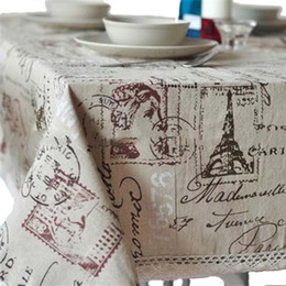 $enCountryForm.capitalKeyWord NZ - ome Textile Cloth Thick Eiffel Tower Linen   Cotton Rectangular Square Tablecloth On the Table Oven Dinning dustProof Cover Home Decora...