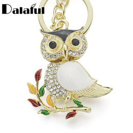 crystal owl keyrings Australia - New Fashion Delicate Owl Crystal Rhinestone Metal Bag Pendant Chic Key Holder Keyring Keychain For Car K179