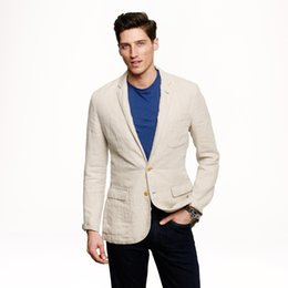 2018 Latest Coat Pant Designs Khaki beige linen tuxedos Men suit for wedding beach Men's casual classic jacket and pants