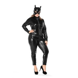 $enCountryForm.capitalKeyWord UK - Plus Size Game Mardi Gras Uniform Halloween Cat Girl Leather Costume Black Wet Look Body Suit with Headgear