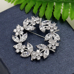 sparkling brooch 2019 - WEIMANJINGDIAN Brand Sparkling Cubic Zirconia Garland Flower CZ Zircon Brooch Pins for Women in White Gold Color Plating