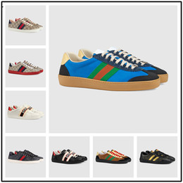 paris flowers 2019 - 2018 Paris luxury casual shoes high-grade white shoes comfortable men and women bee tiger pattern embroidery top designe