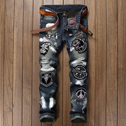 Air Pants Australia - Mens Casual Air Force Motorcycle Biker Jeans Flying Tigers Eagle Patches Male Ripped Hip Hop Blue Zipper Animal Patchwork Robin Jeans Pants