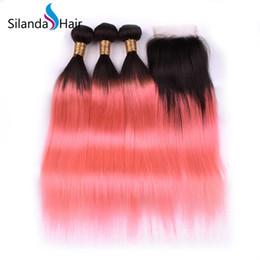 $enCountryForm.capitalKeyWord Australia - Silanda Hair Ombre Color #T 1B Pink 3 Tone Straight Brazilian Remy Human Hair Weaving Bundles 3 Weaves With 4X4 Lace Closure Free Shipping