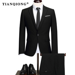 $enCountryForm.capitalKeyWord Canada - TIAN QIONG Brand 2018 Male Solid Color Men Long Sleeve Senior Wedding  dress Man Business Affairs Suit Jacket+trousers S-5XL