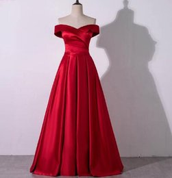 Red Embroidered Evening Dresses Australia - YQLNNE 2018 Red Prom Dresses Off the Shoulder Long Satin Evening Gown