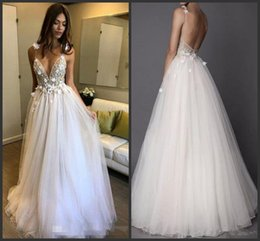 Wholesale Boho Beach Wedding Dresses New A Line Deep V Neck Backless D Applique Beaded Berta With Flowers Floor Length Tulle Straps Bridal Gowns